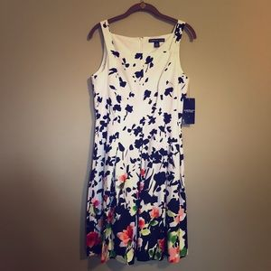 American Living fit and flare floral print dress